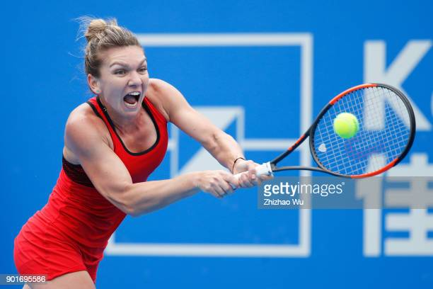 Simona Halep of Romania returns a shot during the semi final match against IrinaCamelia Begu of Romania during Day 6 of 2018 WTA Shenzhen Open at...
