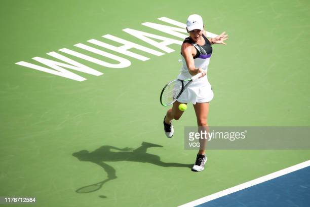 Simona Halep of Romania returns a shot in the second round match against Barbora Strycova of the Czech Republic on Day three of 2019 Dongfeng Motor...