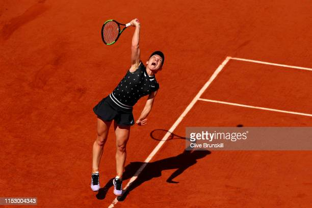 Simona Halep of Romania serves during her ladies singles third round match against Lesia Tsurenko of Ukraine during Day seven of the 2019 French Open...
