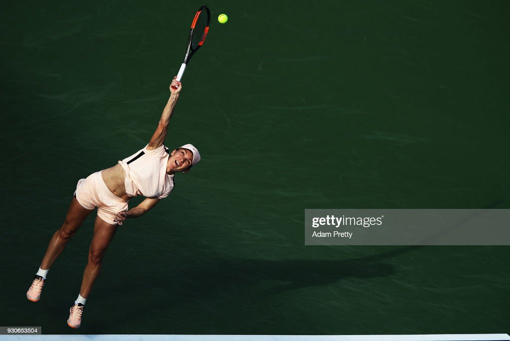 Simona Halep of Romania serves during her match against Caroline Dolehide of the USA during the BNP Paribas Open at the Indian Wells Tennis Garden of the Czech Republic on March 11, 2018 in Indian Wells, California.