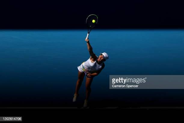 Simona Halep of Romania serves during her Women's Singles Quarterfinal match against Anett Kontaveit of Estonia on day ten of the 2020 Australian...