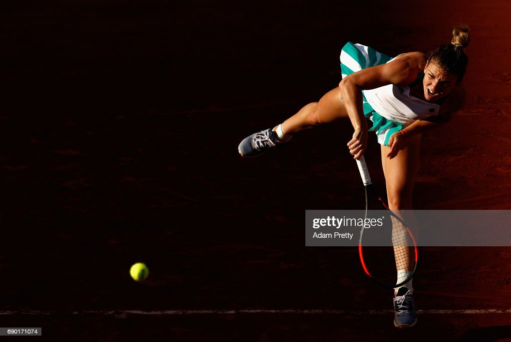 Simona Halep of Romania serves during the ladies singles first round match against Jana Cepelova of Slovakia on day three of the 2017 French Open at Roland Garros on May 30, 2017 in Paris, France.