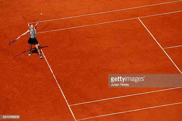 Simona Halep of Romania serves during the Ladies Singles second round match against Zarina Diyas of Kazakhstan at Roland Garros on May 25 2016 in...