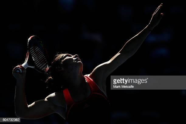 Simona Halep of Romania serves in her match against Karolina Pliskova of the Czech Republic during day four of the Sydney International at Sydney...