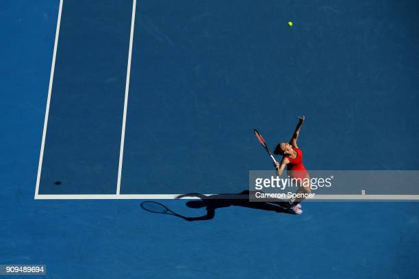 Simona Halep of Romania serves in her quarterfinal match against Karolina Pliskova of the Czech Republic on day 10 of the 2018 Australian Open at...