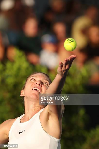 Simona Halep of Romania serves to Ajla Tomljanovic of Australia during day three of the 2020 Adelaide International at Memorial Drive on January 14...