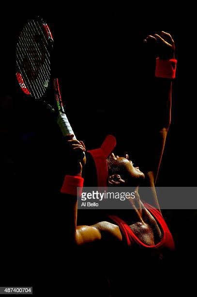 Simona Halep of Romania serves to Victoria Azarenka of Belarus during their Women's Singles Quarterfinals match on Day Ten of the 2015 US Open at the...