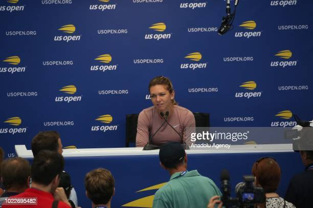 Simona Halep of Romania speaks during a press conference ahead of US Open 2018 tournament in Louis Armstrong Stadium in Flushing, New York, United...