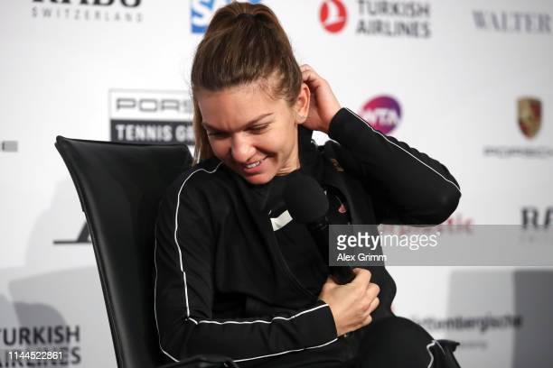 Simona Halep of Romania talks to the media during day 2 of the Porsche Tennis Grand Prix at PorscheArena on April 23 2019 in Stuttgart Germany