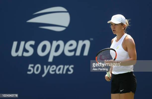 Simona Halep of Romania trains prior to The US Open at USTA Billie Jean King National Tennis Center on August 26 2018 in the Flushing neighborhood of...