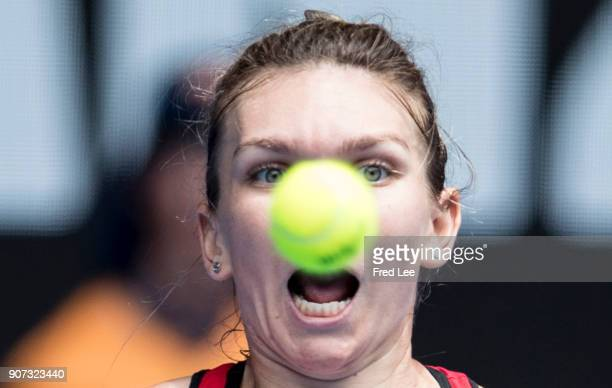 Simona Halep of Romania watches the ball in her third round match against Lauren Davis of the United States on day six of the 2018 Australian Open at...