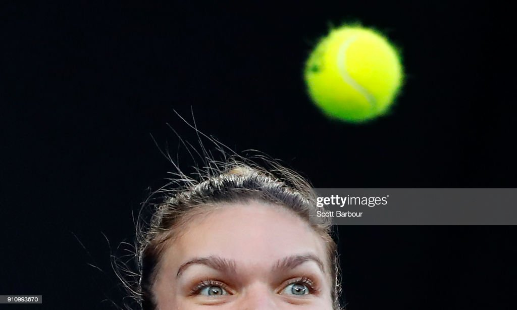 Simona Halep of Romania watches the ball in her women's singles final against Caroline Wozniacki of Denmark on day 13 of the 2018 Australian Open at Melbourne Park on January 27, 2018 in Melbourne, Australia.