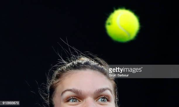 Simona Halep of Romania watches the ball in her women's singles final against Caroline Wozniacki of Denmark on day 13 of the 2018 Australian Open at...