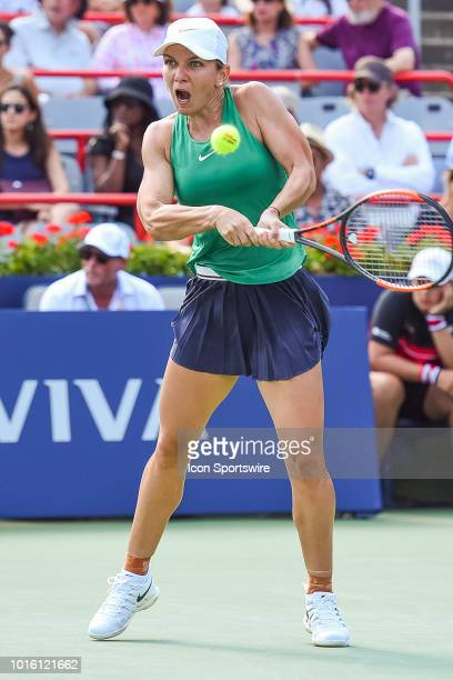 Simona Halep returns the ball during the WTA Coupe Rogers final on August 12 2018 at IGA Stadium in Montréal QC