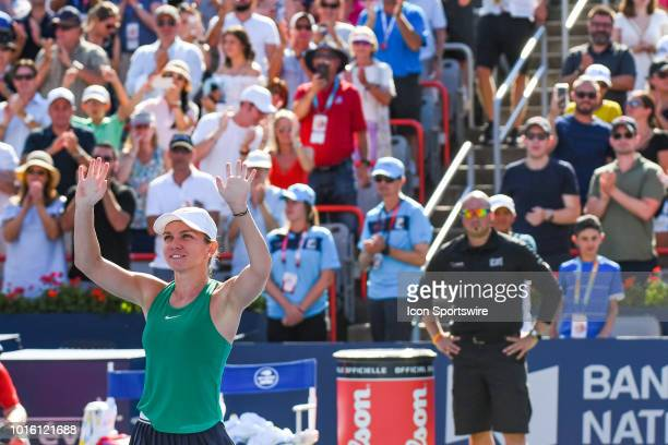 Simona Halep salutes the crowd after winning the WTA Coupe Rogers final on August 12 2018 at IGA Stadium in Montréal QC