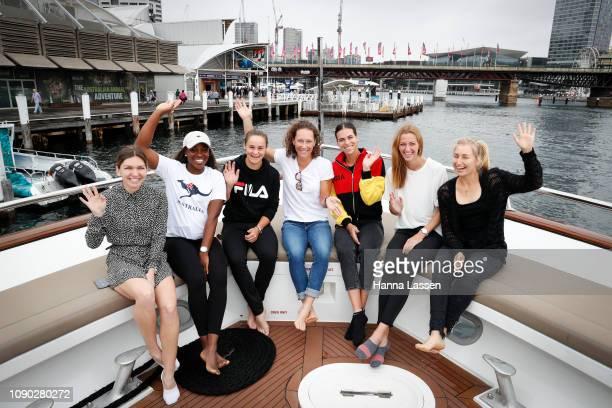 Simona Halep, Sloane Stephens, Ashleigh Barty, Samantha Stosur, Petra Kvitova and Daria Gavrilova pose during a media opportunity of the 2019 Sydney...