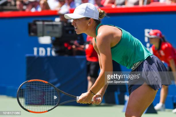 Simona Halep waits for service during the WTA Coupe Rogers final on August 12, 2018 at IGA Stadium in Montréal, QC