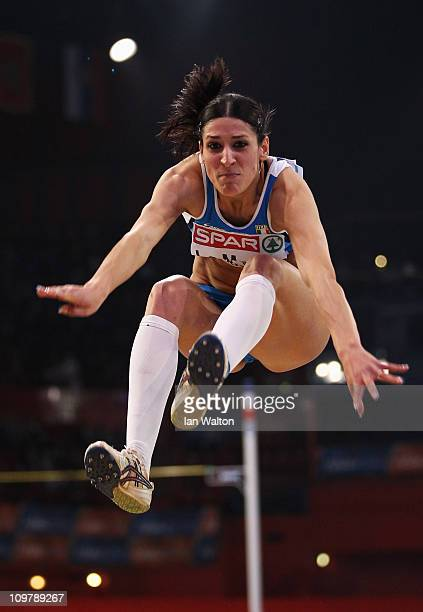 Simona La Mantia of Italy jumps on the way to winning the gold medal in the Women's Triple Jump during day 2 of the 31st European Athletics Indoor...
