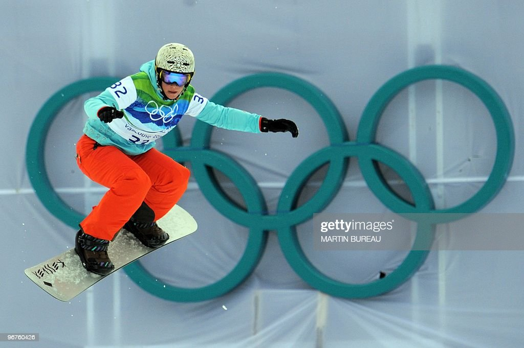 Simona Meiler of Switzerland competes during the women's Snowboard cross qualifications at Cypress Mountain during the Vancouver Winter Olympics, north of Vancouver on February 16, 2010.