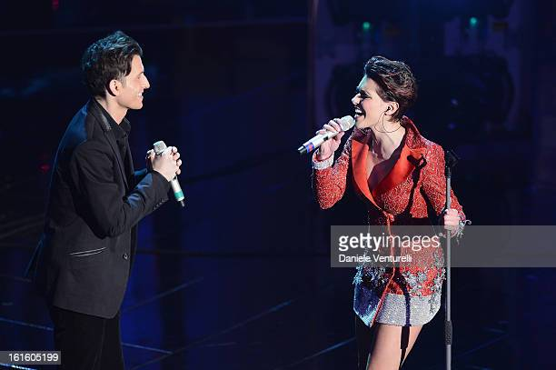 Simona Molinari and Peter Cincotti attend the opening night of the 63rd Sanremo Song Festival at the Ariston Theatre on February 12 2013 in Sanremo...