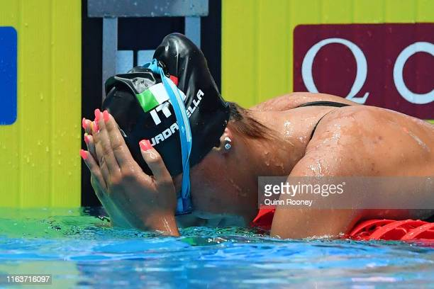 Simona Quadarella of Italy celebrates after winning the Women's 1500m Freestyle Final on day three of the Gwangju 2019 FINA World Championships at...