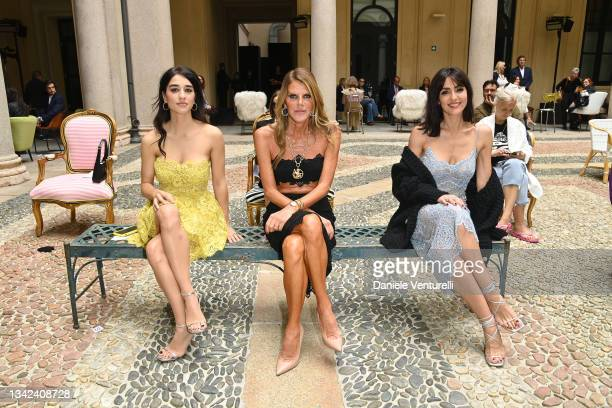 Simona Tabasco, Anna Dello Russo and Ambra Angiolini are seen on the front row of the Ermanno Scervino fashion show during the Milan Fashion Week -...
