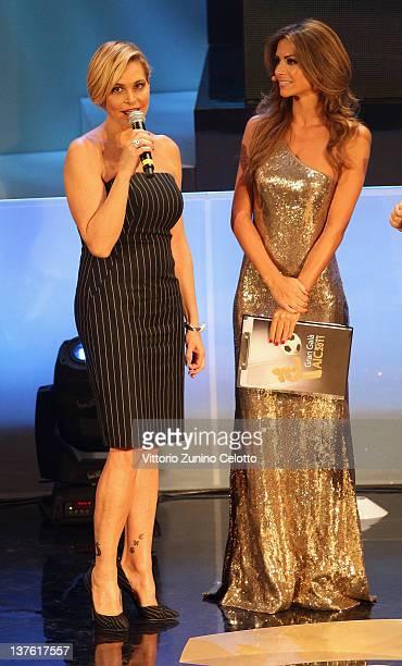 Simona Ventura and Alessia Ventura attend the Gran Gala del calcio Aic 2011 awards ceremony at Teatro dal Verme on January 23 2012 in Milan Italy