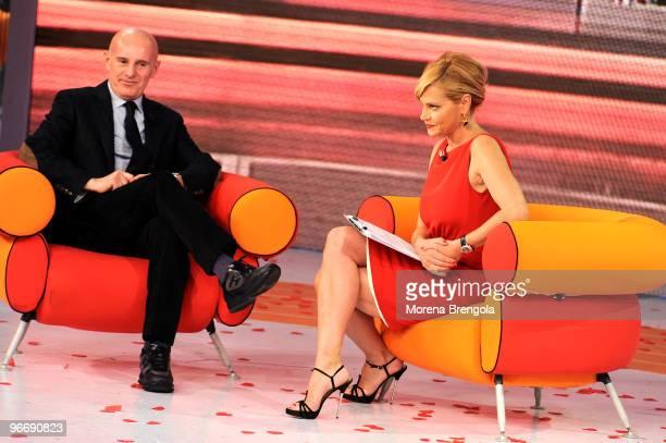 Simona Ventura and Arrigo Sacchi during Quelli che il calcio Italian tv show on February 14 2010 in Milan Italy