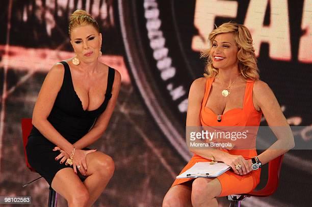 Simona Ventura and Loredana Lecciso during Quelli che il calcio tv show on March 28 2010 in Milan Italy