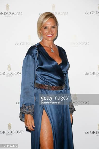 Simona Ventura attends 'L'Art De Vivre a Porto Cervo' private party at Pedrinelli Restaurant on August 8 2018 in Porto Cervo Italy