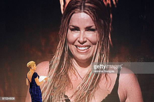 Simona Ventura attends the ''L'isola dei famosi'' television show on February 24 2010 in Milan Italy