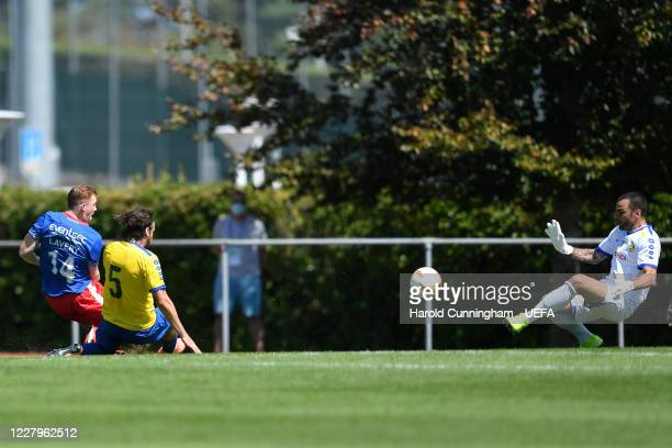 Simoncini of S.S. Tre Fiori F.C. Block an attempt from Lavery of Linfield FC during the UEFA Champions League 2020/21 Preliminary Round Semi-final...