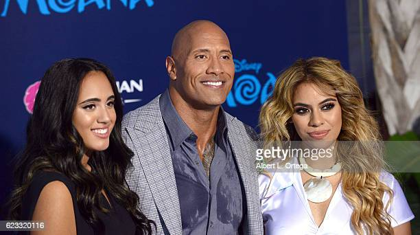 Simone Alexandra Johnson actor Dwayne Johnson and DinahJane Hansen arrive for the AFI FEST 2016 Presented By Audi Premiere Of Disney's 'Moana' held...