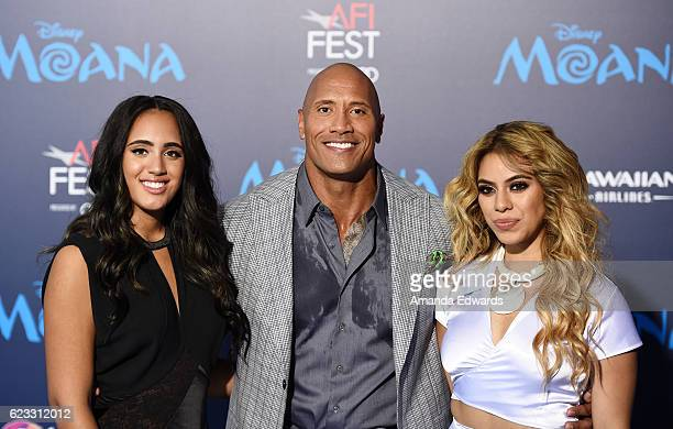 Simone Alexandra Johnson actor Dwayne Johnson and singer Dinah Jane Hansen arrive at the AFI FEST 2016 Presented By Audi premiere of Disney's 'Moana'...