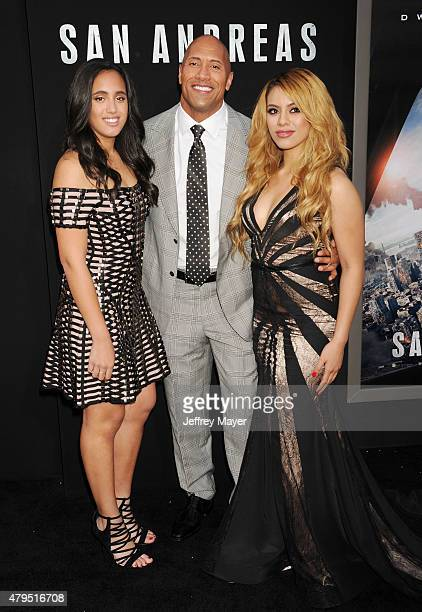 Simone Alexandra Johnson actor Dwayne 'The Rock' Johnson and singer Dinah Jane Hansen arrive at the 'San Andreas' Los Angeles Premiere at TCL Chinese...
