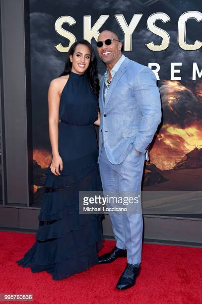 Simone Alexandra Johnson and Dwayne Johnson attend the Skyscraper New York Premiere at AMC Loews Lincoln Square on July 10 2018 in New York City