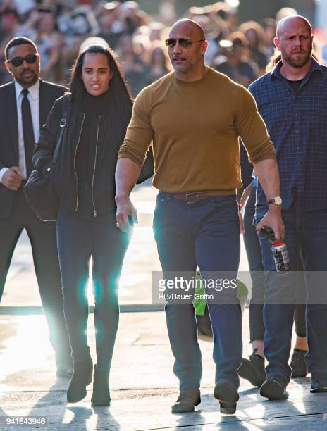 Simone Alexandra Johnson and Dwayne 'The Rock' Johnson are seen at 'Jimmy Kimmel Live' on April 03 2018 in Los Angeles California
