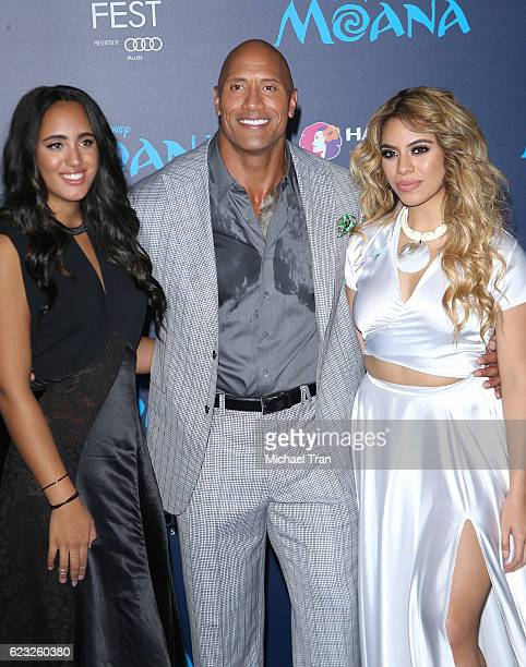 Simone Alexandra Johnson Dwayne Johnson and DinahJane Hansen arrive at the AFI FEST 2016 presented by Audi world premiere of Disney's 'Moana' held at...