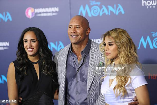Simone Alexandra Johnson Dwayne Johnson and DinahJane Hansen arrive at the AFI FEST 2016 presented by Audi premiere of Disney's 'Moana' held at the...