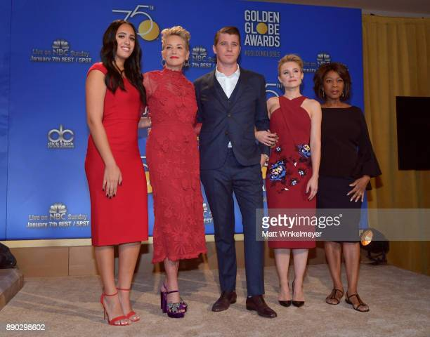 Simone Alexandra Johnson Sharon Stone Garrett Hedlund Kristen Bell and Alfre Woodard attend the 75th Annual Golden Globe Nominations Announcement on...