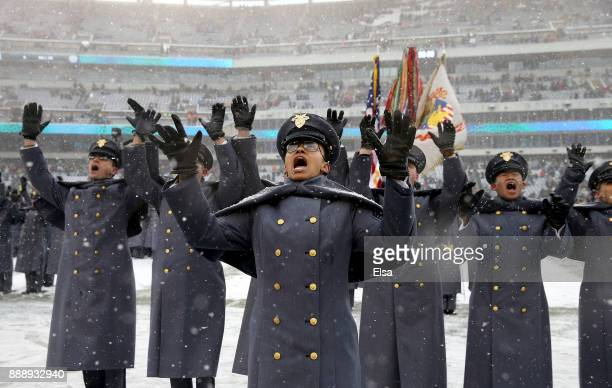 Simone Askew first captain of the Corps of Cadets leads chant after the March On before the game between the Army Black Knights and the Navy...