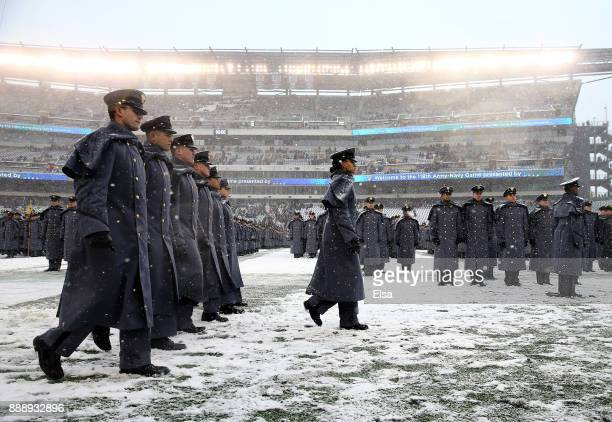 Simone Askew first captain of the Corps of Cadets leads the March On before the game between the Army Black Knights and the Navy Midshipmen on...