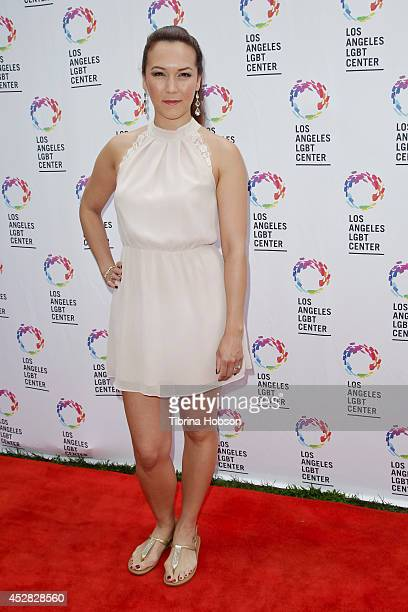 Simone Bailly attends the GLEH/Los Angeles LGBT center's garden party on July 27 2014 in Los Angeles California