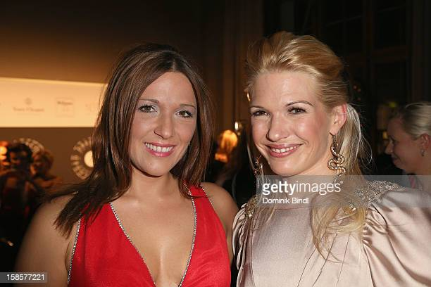 Simone Ballack and Jessica Kastrop attend the Natascha Gernot Gruen 'Golden Red Christmas Night' Party on December 19 2012 in Munich Germany