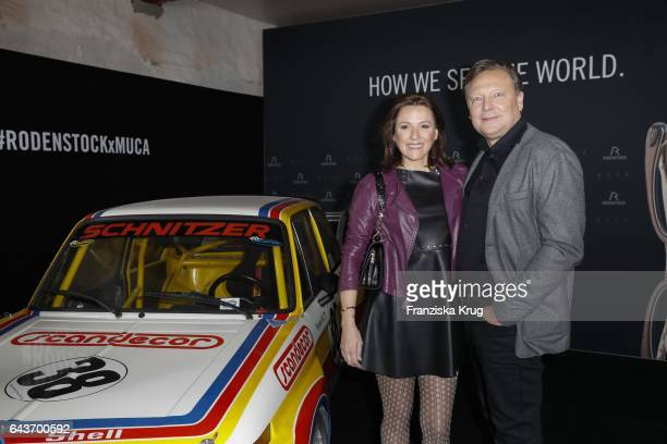 Simone Ballack and Oliver Kastalio CEO Rodenstock attend the Rodenstock Exhibition Opening Event at Museum of Urban and Contemporary Art in Munich on...