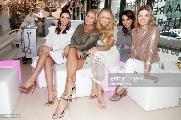 Simone Ballack Magdalena Brzeska Jenny Elvers Nina Moghaddam and Nina Bott during the presentation of the new hairfree campaign on February 6 2018 in...