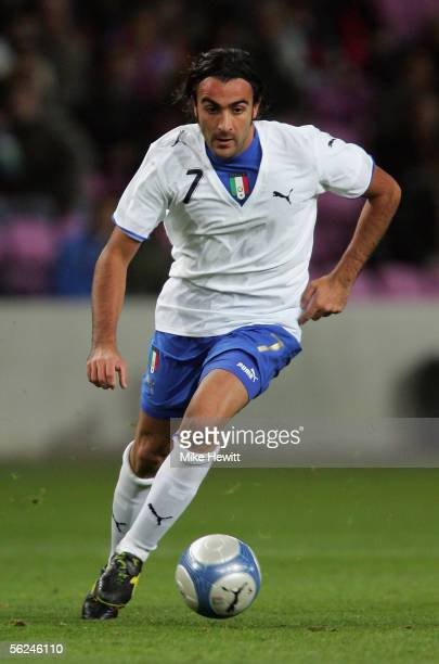 Simone Barone of Italy in action during the International friendly between Italy and Ivory Coast at the Stade de Geneva on November 16, 2005 in...