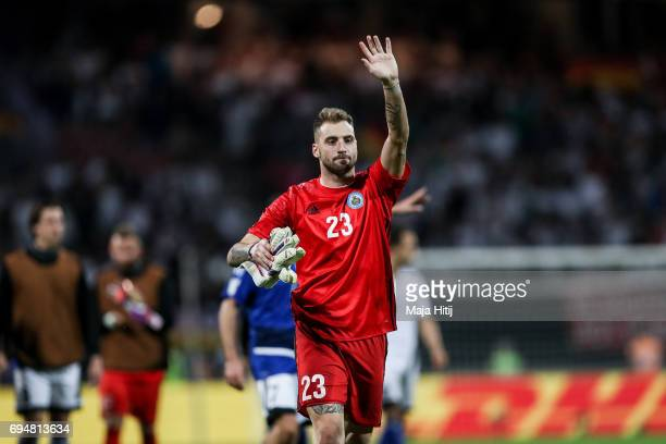 Simone Benedettini of San Marino waves to the fans after the FIFA 2018 World Cup Qualifier between Germany and San Marino on June 10 2017 in...