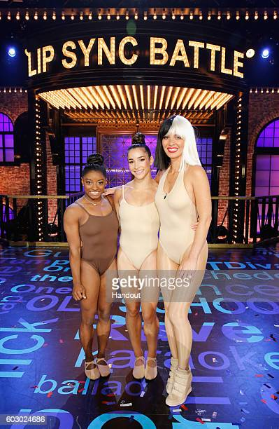 Simone Biles Aly Raisman and Olivia Munn onstage during Spike TV's Lip Sync Battle All Stars Live on September 11 2016 in Studio City California