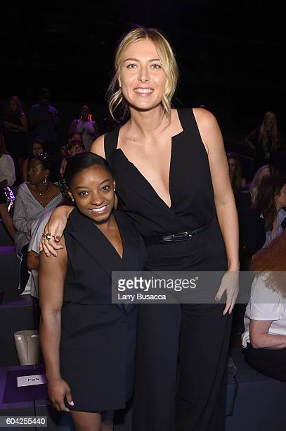 Simone Biles and Maria Sharapova attend the Vera Wang Collection fashion show during New York Fashion Week The Shows at The Arc Skylight at Moynihan...